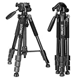 Zomei 56' 3-way Pan Head Portable Lightweight Travel Tripod with Carrying Case for Video DSLR Cameras Nikon Canon