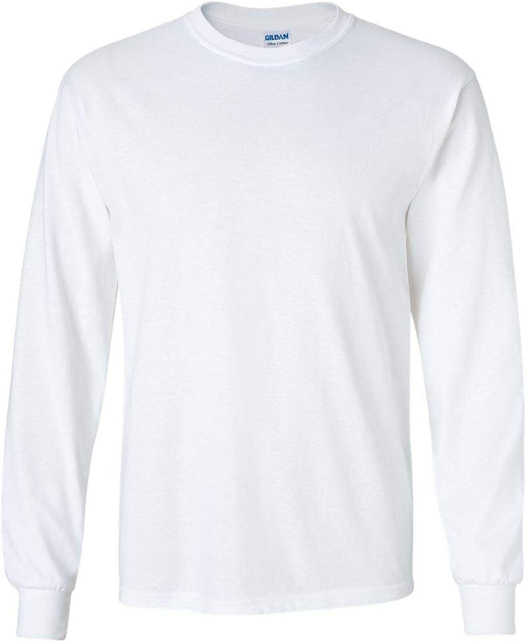 Gildan Mens Ultra Cotton Adult Long Sleeve T-Shirt Classic Fit Rib Cuffs Tee TOP