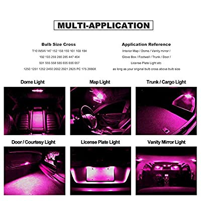 DODOFUN T10 Pink Car Interior Exterior Replacement Bulb Map Dome Door Trunk Cargo License Plate LED Light 168 175 194 2825 W5W Size (Pack of 10): Automotive