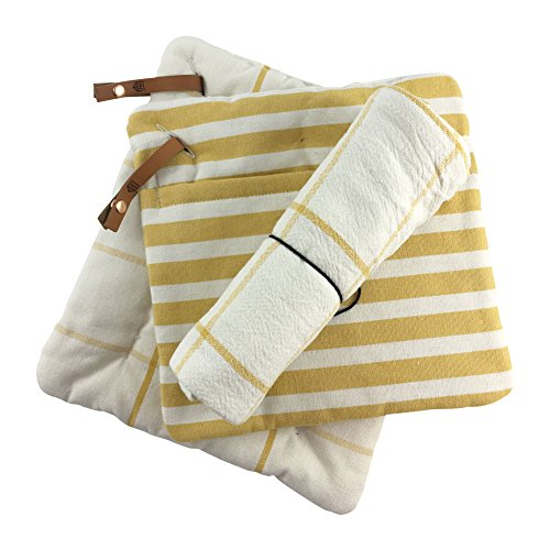 Striped Pot Holder - Hearth and Hand with Magnolia, Striped and Grid Pattern Pot Holder (Set of 2) with Large Flour Sack Kitchen Dish Towel Set, Golden Yellow and White, 100% Cotton