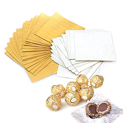 Haawooky 300 Pieces 4 Inch Square Golden Aluminium Foil Candy Wrappers Sugar Wraps Paper for DIY Candies and Chocolate Packaging by Party/Wedding/Birthday/Chrismas Accessories