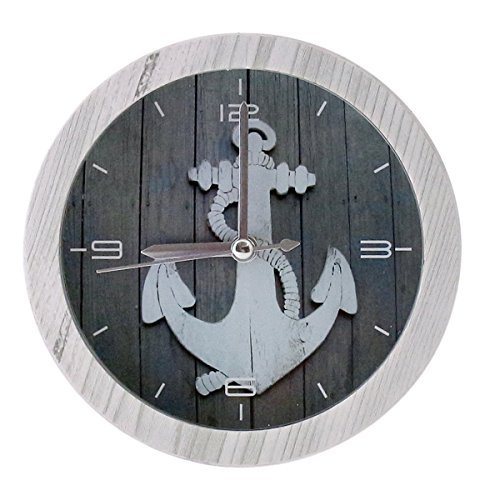 Nautical Decorative Ornamental Wooden Desk Bedside Alarm Clock - 4-inch, Anchor Design with White Frame