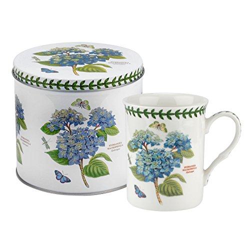 Botanic Garden Mug & Tin Set-Hydrangea Motif, Porcelain, Multi-Colour, 13 x 13 x 11.5 cm