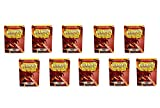 10 Packs Dragon Shield Classic Red Standard Size 100 ct Card Sleeves Display Case
