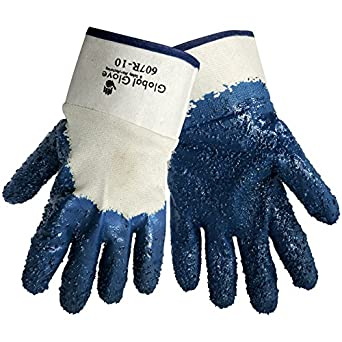Global Glove 607R Nitrile Dipped on 2 Piece Jersey Glove with Safety Cuff, Chemical Resistent, Extra Large, Light Blue (Case of 72)