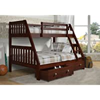 Bunk Bed Twin over Full Mission Style--Dark Cappuccino Finish--Includes Drawers!!!