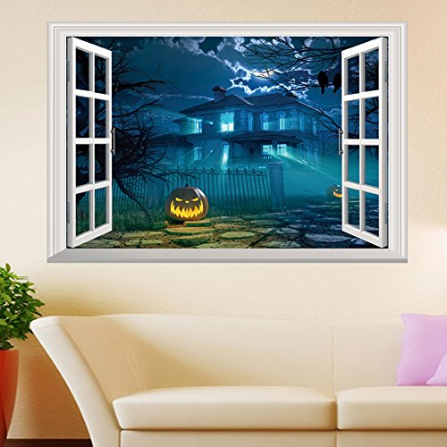 IVYRISE Halloween Pumpkin 3D Wall Sticker Household Room Wall Decals Window Like Sticker Festival Party Decor Removable Unique Sticker ()