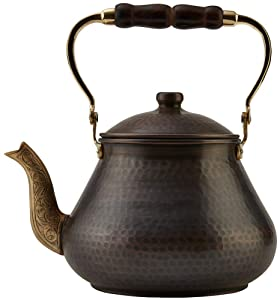 DEMMEX 2019 Heavy Gauge 1mm Thick Natural Handmade Turkish Copper Tea Pot Kettle Stovetop Teapot, LARGE 3.1 Qt - 2.75lb (Antique Copper)