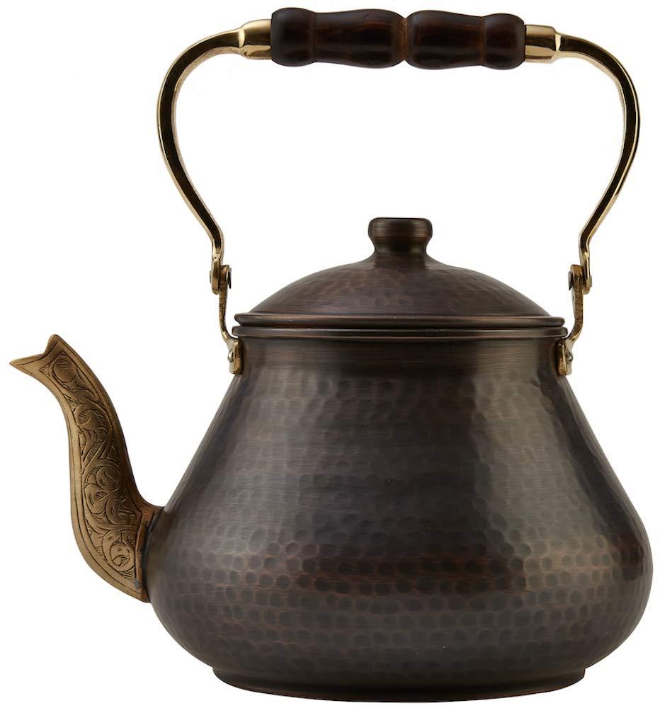DEMMEX 2019 Heavy Gauge 1mm Thick Natural Handmade Turkish Copper Tea Pot Kettle Stovetop Teapot, LARGE 3.1 Qt - 2.75lb (Antiqued Copper)
