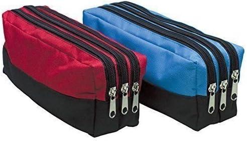 Estuche rectangular, con tres bolsillos con cremallera, tamaño grande, de tela, ideal para la escuela, color azul: Amazon.es: Hogar