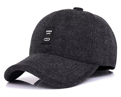 WETOO Men's Winter Woolen Tweed Peaked Baseball Cap Hat With Fold (Fold Down Earflaps)