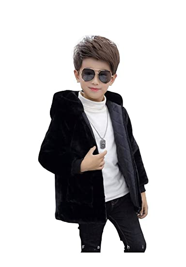 915f3d8b31919 Amazon.com  Taymart Little Big Boys Black Fur Hooded Winter Coats Size 4T  -14  Clothing