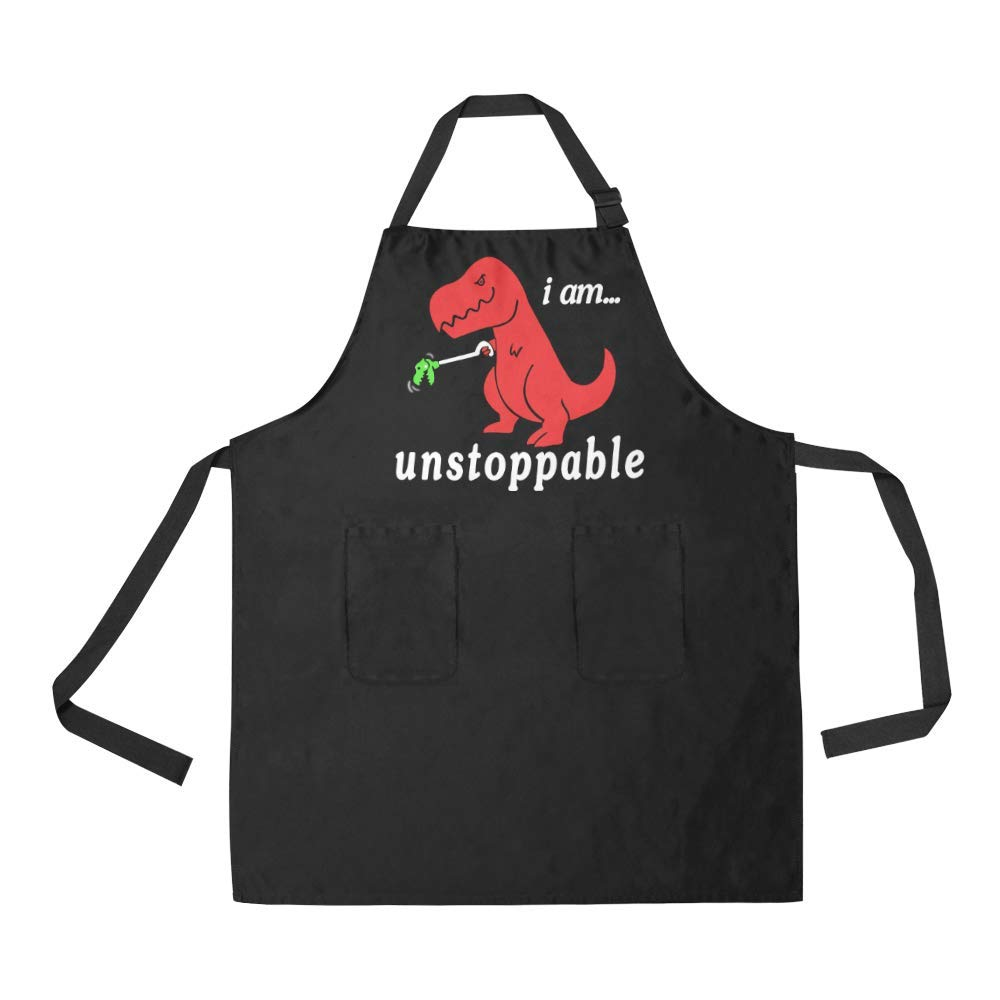QUICKMUGS2U i am unstopable Funny Dinosaur Tyrannosaurus Funny Sayings Protective Apron Smoke Proof Aprons Black Cooking Aprons Best Gift Idea