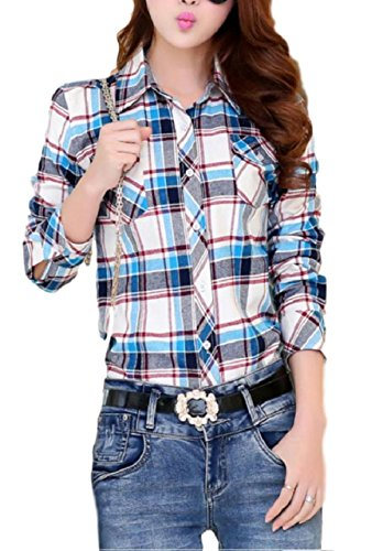 (ten is heart)Check shirts lattice long sleeve western gingham tops nell ladies (XL, Sax Tartan Check)fitted cool ladies cotton funny slim short silk high suit denim satin long custom dres - Gingham Short Denim