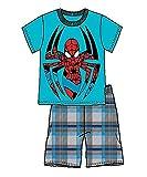 Marvel Spider-Man Infant Boys T Shirt Top and Plaid Short- Blue (24M)