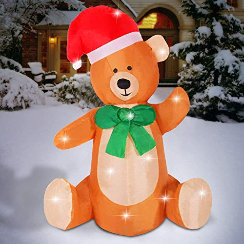 Christmas Inflatable 4 FT Bear Xmas Lighted Blow-Up Airblown Inflatable for Yard Party Decoration