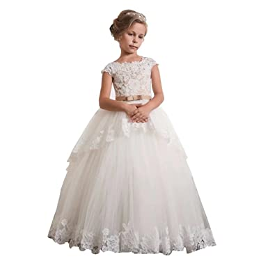 Ourlove Dress Vintage Girls Communion Gowns Bodice Lace Flower Girl Dress  Appliques Tiered Puffy Cap Sleeve dbc9c2bcd
