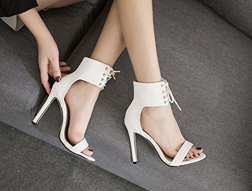 Aisun Damen Kunstleder Schlangenmuster Offene Zehen Knöchelriemchen Schnüre Sandale Weiß