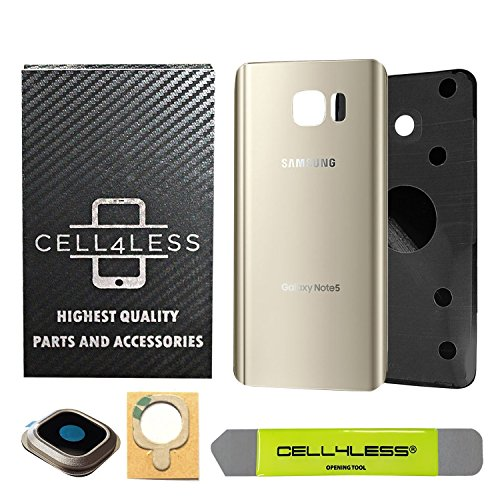 CELL4LESS Samsung Galaxy Note 5 Replacement Rear Back Glass Back Cover w/Camera Lens, Custom Removal Tool & Pre-Installed Adhesive - Fits N920 Models - 2 Logo (Gold)