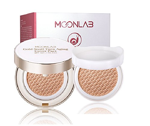 [MOONLAB] Gold Snail Turn Aging Cover Pact [0.91 oz. /13g x 2ea] – SPF50+, PA+++ Excellent Coverage with Anti-Wrinkle, Natural Sun Protection, Edelweiss Extract, 1 Extra Refill (Copper Foundation Powder)