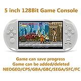 New JXD 128Bit 5 inch Screen 8GB Built-in 1300 Games Retro Video Games Console support Arcade NEOGEO/CPS FC/NES/SFC/SNES/GB/GBC/GBA/SMC/SMD/SEGA Handheld Game Console video music Ebook (White)