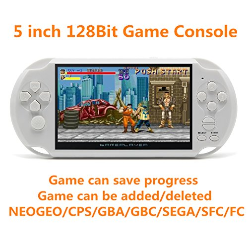 New JXD 128Bit 5 inch Screen 8GB Built-in 1300 Games Retro Video Games Console support Arcade NEOGEO/CPS FC/NES/SFC/SNES/GB/GBC/GBA/SMC/SMD/SEGA Handheld Game Console video music Ebook (White)