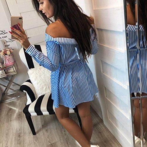 Bsgsh Décontracté Décor Bouton Off Rayures Épaule Femmes Manches Longues Mini-robe Avec Ceinture Bleue
