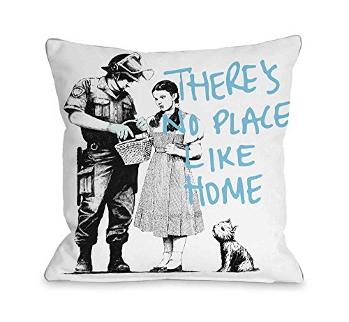 """One Bella Casa Dorothy No Place Life Home Throw Pillow by Banksy, 18""""x 18"""", White/Blue from One Bella Casa"""