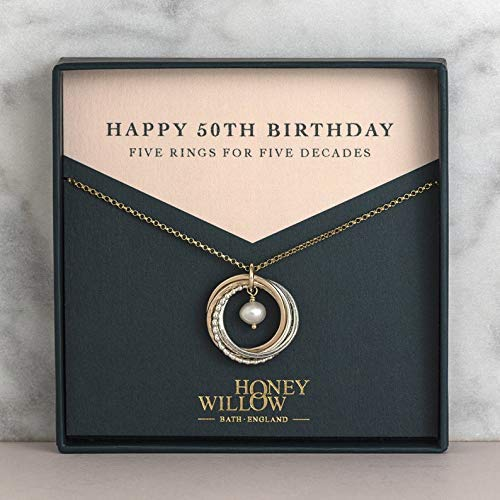 5 Rings for 5 Decades 50th Birthday Gold and Silver Birthstone Necklace with Gift Note