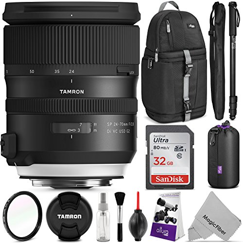 Tamron SP 24-70mm f/2.8 Di VC USD G2 Lens for NIKON F w/ Advanced Photo and Travel Bundle