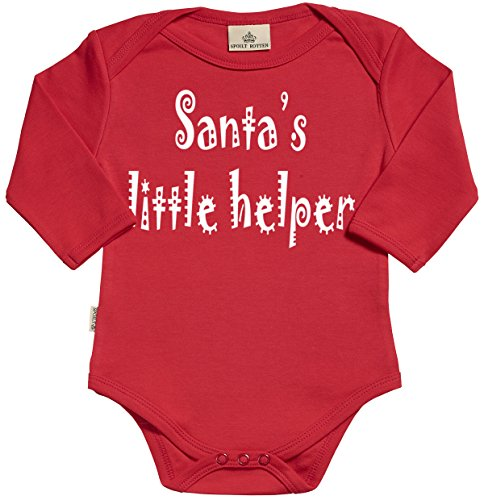 SR - Gift Boxed in Baby Gift Santas Little Helper Organic Baby Clothing Babygrow - Baby Onesie - Baby Gift in Gift Milk Carton Gift Box - 0-6 Months (Santas Helper Gift Box)
