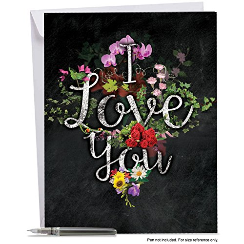 J2358DVDG Jumbo Valentine's Day Card: Chalk And Roses Valentine's - Featuring an 'I Love You' Sentiment Written in a Chalkboard Style and Combined with Images of Beautiful Floral Sprays, With Envelo