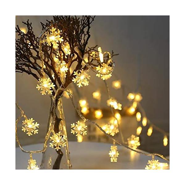 Catena Luminosa,Luci natalizie a forma di fiocco di neve,per Natale,giardino,terrazza,camera da letto,feste,interni ed esterni,luce bianca calda 4 spesavip