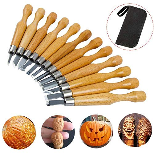 Wood Carving Set, SK7 Carbon Steel Handle Wood Carving Knife Tools, Professional Sculpture Sculpting Woodworking Crafting Chisel for DIY Art Craft Clay Carpentry Beginners Amateur with Bag (12 Set)