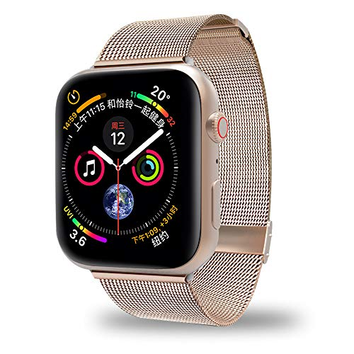 AWOOWELL for Watch Band 38mm 40mm,Stainless Steel Mesh Metal Loop with Adjustable Magnetic Closure Replacement Bands for Iwatch Series 4 3 2 1 Gold