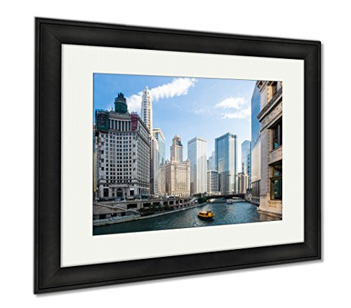 Ashley Framed Prints Chicago USA July 8 2014 Chicagos Famous Wrigley Building On Michigan Ave On A, Modern Room Accent Piece, Color, 34x40 (frame size), Black Frame, - Ave Michigan On Shops