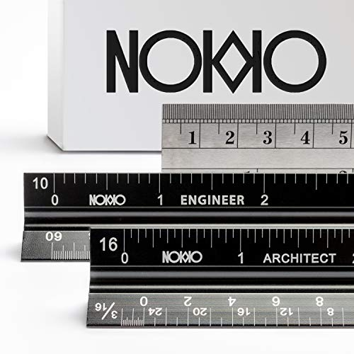 NOKKO 3 Piece Aluminum Ruler Set | Triangular Architectural & Engineering Imperial Scale Rulers + Standard Metric & Imperial Conversion Ruler | Professional Measuring Tools for Drafting Blueprints