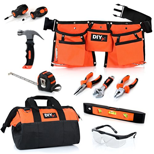 My First Tool Set by DIYjr - Real Tool Set for Kids Steel Forged Tools for Children Kids Toolbelt Child-sized Tools Tool Bag for Kids Real Tools for Boys Tool Set for Girls Tools for Small Hands
