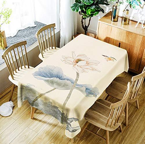 JUNGEN Mantel Rectangular Grande 150 /× 210cm Mantel de Flor de Loto Mantel Antimanchas Mantel Lavable Mantel de Poliester Mantel de Moderno para Decoracion de Cocina Comedor Cafe