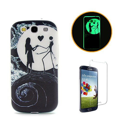 for Samsung Galaxy S3 Case CasesHome [Night Luminous] Fluorescent Glow in The Dark Ultra Slim Thin Soft Flexible Silicone Cover Skin Shell for Samsung Galaxy S3-Moon - Glow Galaxy Case In Dark The S3
