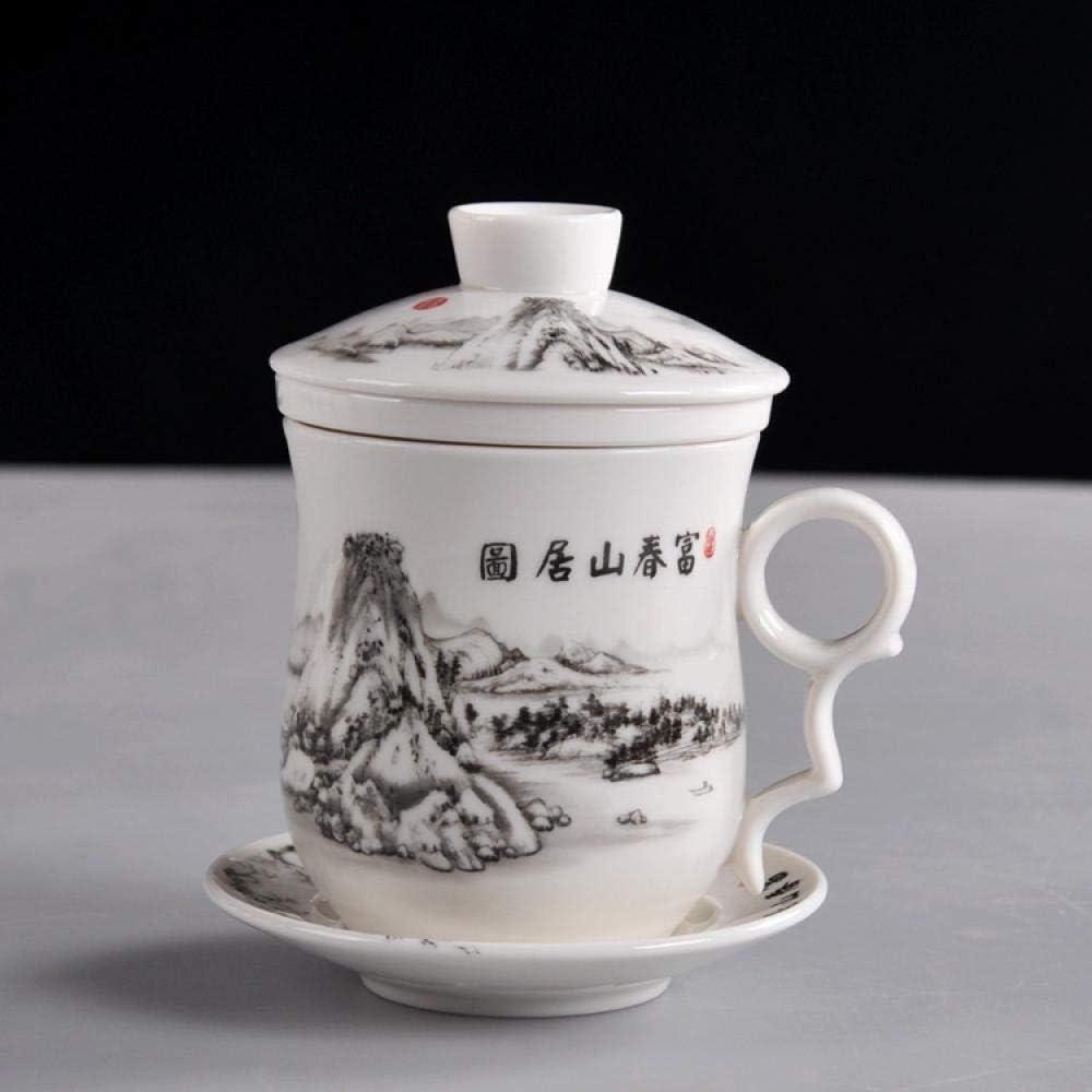 IRCATH Regalo Original para MAMÁ-Taza de té de Cuatro Piezas con Tapa de Filtro Taza de cerámica Taza Personal de Porcelana Azul y blanca-13