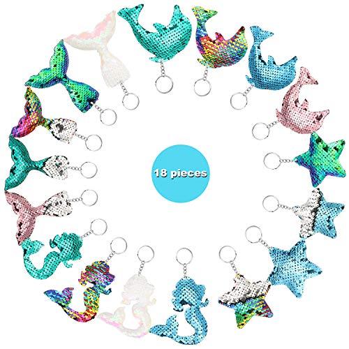 18 Pieces Reversible Mermaid Sequin Keychains Glitter Flip