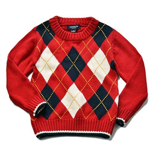 Cotton Argyle Sweater - 4