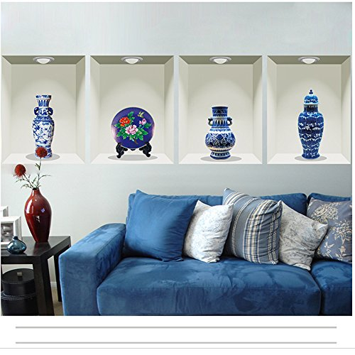 Fangeplus(TM DIY Removable Simulate Vase Blue and White Porcelain Art Mural Vinyl Waterproof Wall Stickers Kids Room Decor Nursery Decal Sticker Wallpaper47.2''x14.9'' -