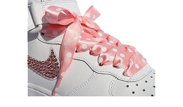db862b81fc038 Amazon.com  Pink Polka Dot Flat Shoelaces