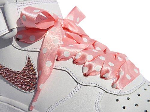 Polka Dots, rosa Satinband Schnürsenkel für Schnürsenkel Sneaker Nike Air Force mit unserem Pimp My Shoes-Logo, Sicherung an Seilenden: Pink Polka Dot
