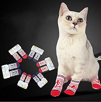 Stock Show Pet Dog Cat Stripe Socks with Anchor Pattern Decor, Anti Slip  Bottom Warm Cotton Paw Protectors for Indoor Wear, Set of 4Pcs