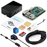 ABOX Raspberry Pi 3 Starter Kit with Pi 3 Model B Barebones Computer Motherboard 64bit Quad Core,32G Micro SD Card,HDMI cable,2.5A Power Supply,Black Cas