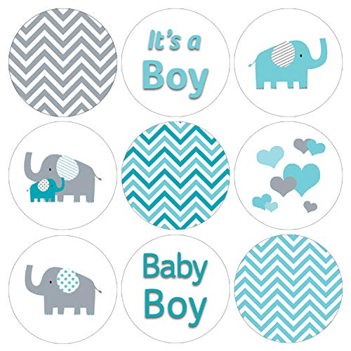 - Teal Blue and Gray Elephant Boy Baby Shower Favor Labels | 216 Stickers