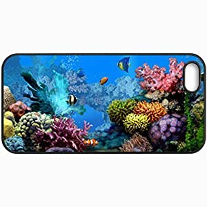 Customized Cellphone Case Back Cover For iPhone 5 5S, Protective Hardshell Case Personalized Free Living Marine Aquarium Animated Black